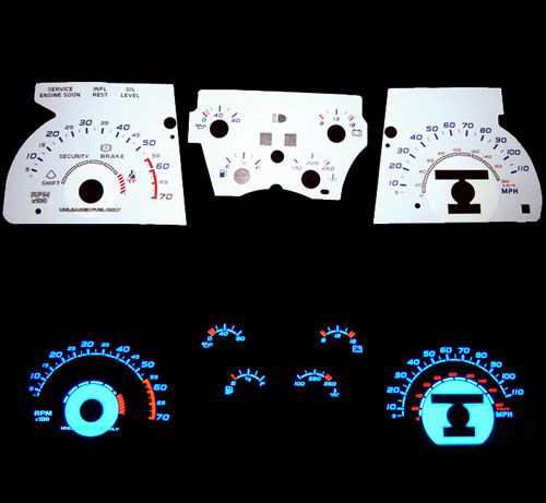 Chevrolet Camaro Z28 1990-1992 Reverse Glow Gauges