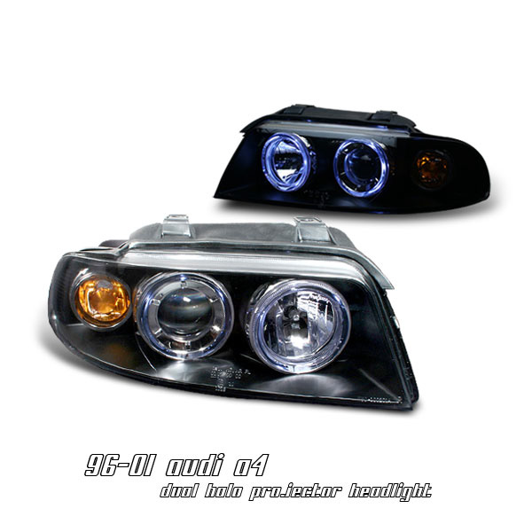 Audi A4 1996-2001 Dual Halo Black Projector Headlights