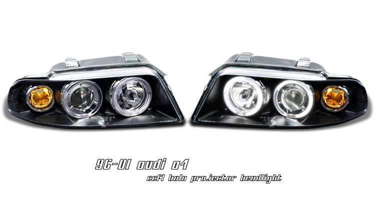Audi A4 1996-2001 Black Housing Halo Projector Head Lights