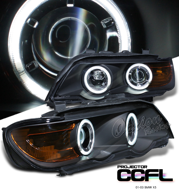 Bmw X5 2001-2003  Black W/ Halo Projector Headlights