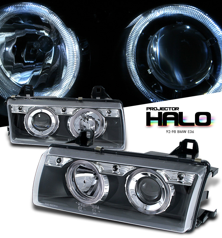Bmw 3 Series 1992-1998  Black W/ Halo Projector Headlights