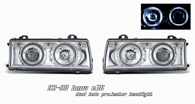 Bmw 3 Series 1992-1998  Chrome W/ Halo Projector Headlights