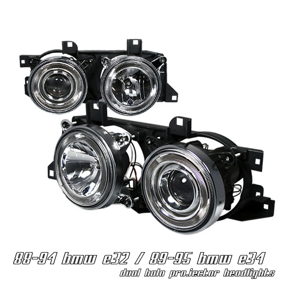 Bmw 7 Series 1988-1994  Chrome W/halo Projector Headlights