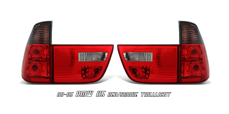 Bmw X5 2000-2005  Red / Clear Euro Tail Lights