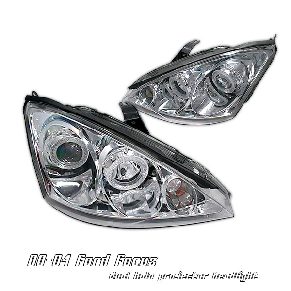 Ford Focus 2000-2004  Chrome W/ Halo Projector Headlights