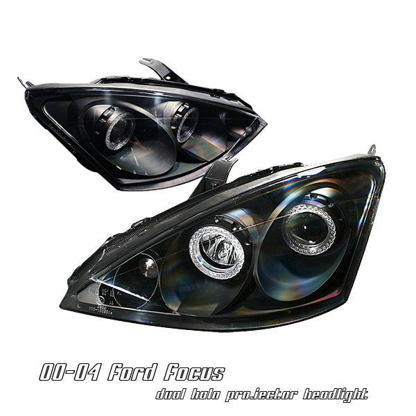 Ford Focus 2000-2004  Black W/halo Projector Headlights
