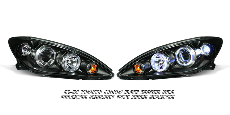 Toyota Camry 2002-2004 Black Projector Head Lights w/ Halo