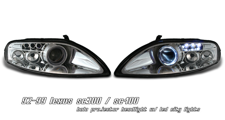 Lexus Sc300    Sc400 1992-1999 Chrome Projector Headlights By Ks