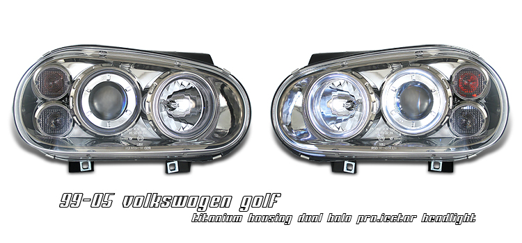 Volkswagen Golf 1999-2004  Titanium W/ Halo Projector Headlights