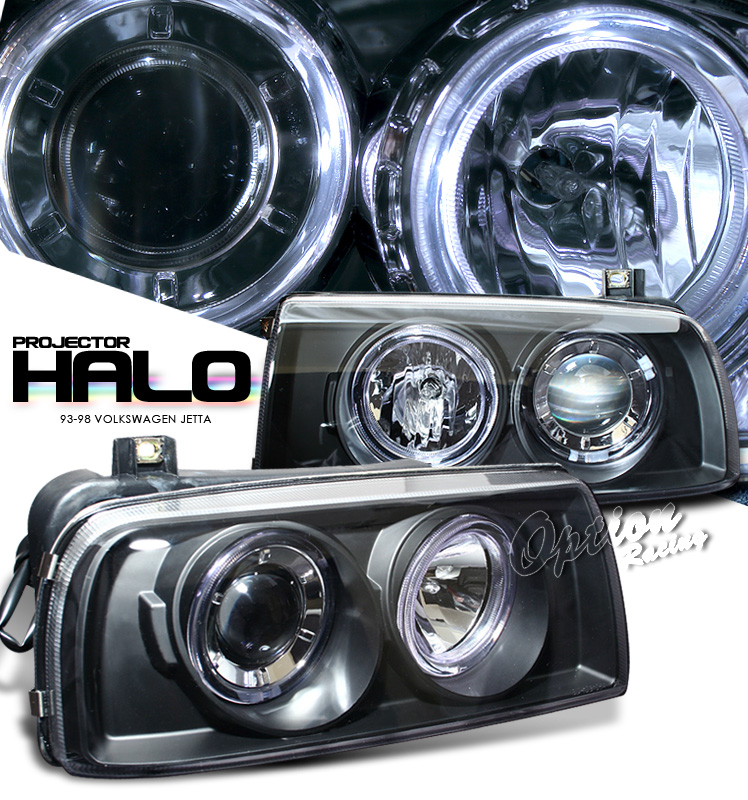 Volkswagen Jetta 1993-1998  Black W/ Halo Projector Headlights