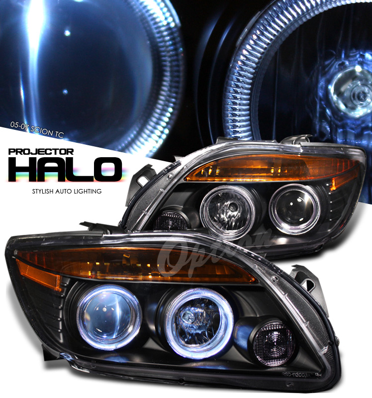 Scion Tc 2005-2007  Black/amber W/ Halo Projector Headlights