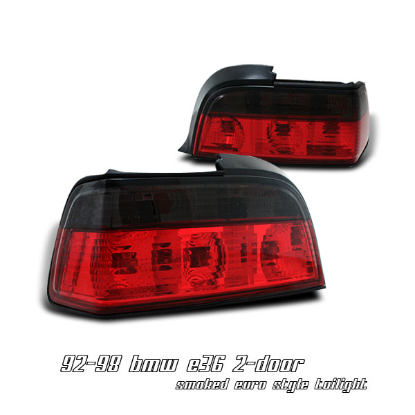 Bmw 3 Series 1992-1998  Red / Clear Euro Tail Lights