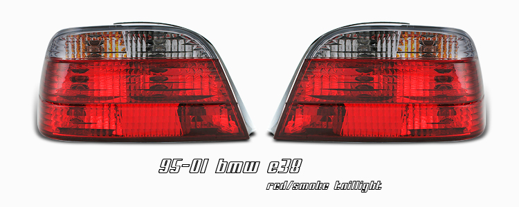 Bmw 7 Series 1995-2001  Red / Clear Euro Tail Lights