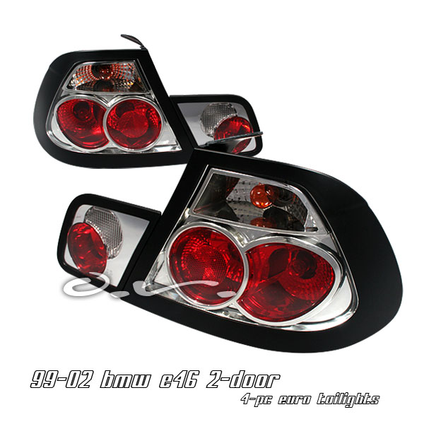 Bmw 3 Series 1999-2002 2dr Red / Clear Euro Tail Lights