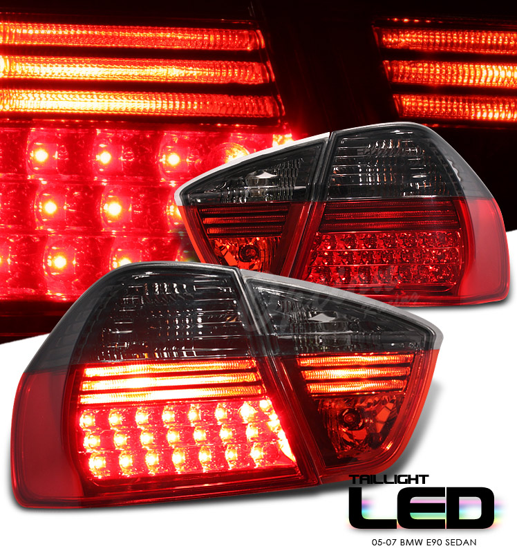Bmw 3 Series 2005-2007 4dr Red/Smoke Led Tail Lights