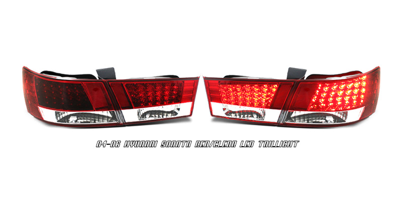Hyundai Sonata 2004-2006 Red/Clear LED Tail lights