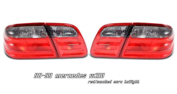 Mercedes Benz E Class 1996-1999 Red/Smoked Euro Tail Lights