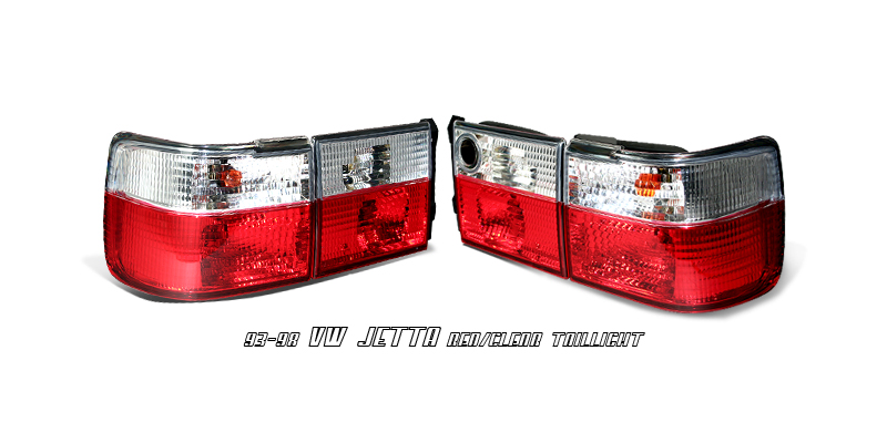 Volkswagen Jetta 1993-1998  Red / Clear Euro Tail Lights
