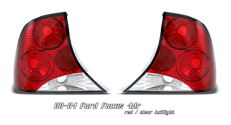 Ford Focus 2000-2004 4dr Red / Clear Euro Tail Lights