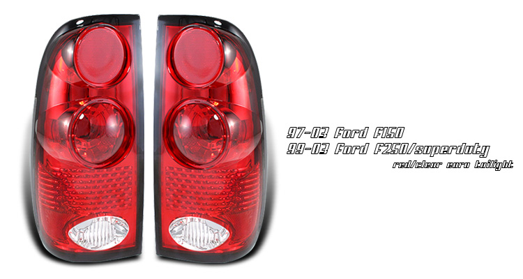 Ford F150 1997-2003 Red/Clear Tail Lights