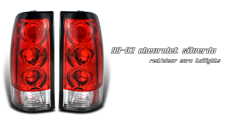Gmc Sierra 1999-2002  Red / Clear Euro Tail Lights