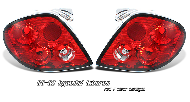 Hyundai Tiburon 2000-2002  Red / Clear Euro Tail Lights