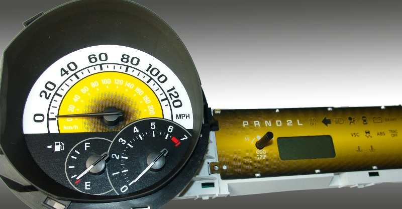 Scion Xb 2004-2007  Yellow / Yellow Night Performance Dash Gauges