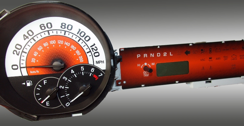 Scion Xb 2004-2007  Orange / Orange Night Performance Dash Gauges