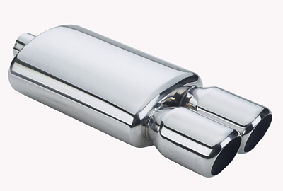RS Type Stainless Steel Muffler with Dual 3 in. Tip