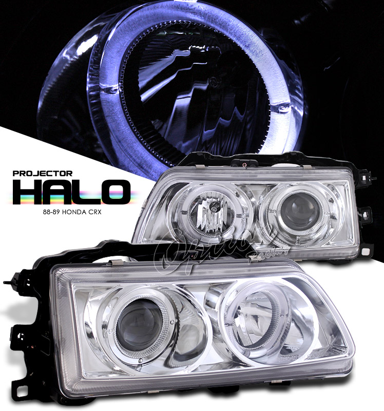 Honda Crx 1988-1989  Chrome W/ Halo Projector Headlights