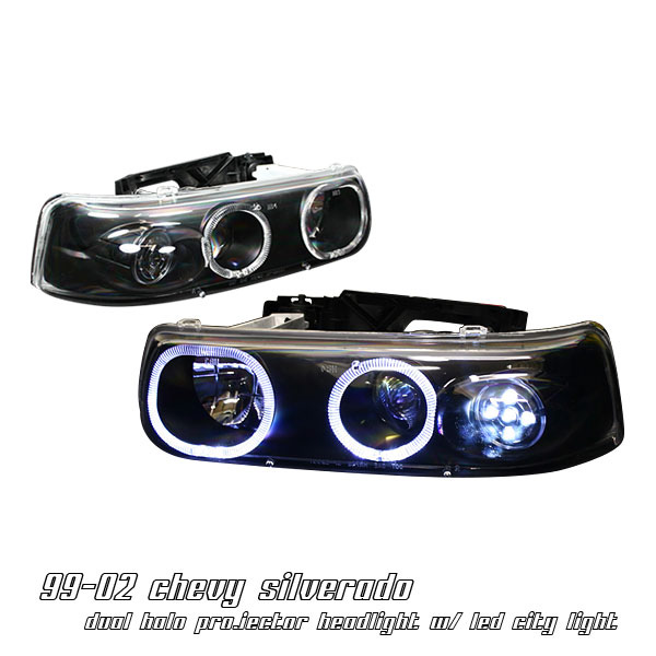 Chevy Silverado 99-02 Black Projector Headlights