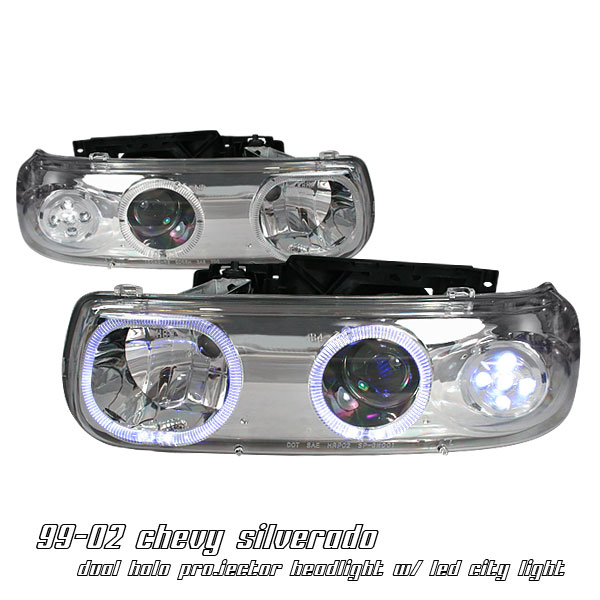 Chevrolet Silverado 1999-2002  Chrome Led W/ Halo Projector Headlights