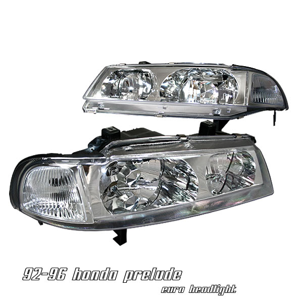 Honda Prelude 1992-1996  Chrome 1pc W/ Clear Corner Euro Crystal Headlights