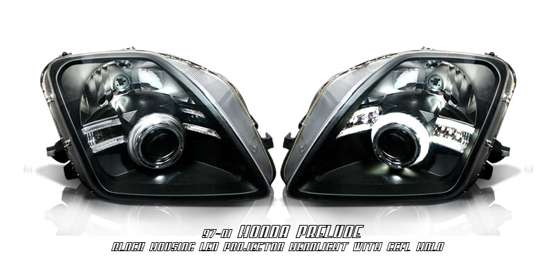 Honda Prelude 97-01 Black Projector Headlights
