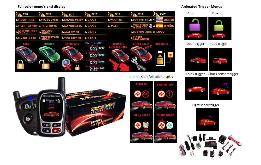 Crimestopper SP600 - 2 Way Remote Car Starter, Car Alarm and Keyless Entry with 3D Color LCD Pager