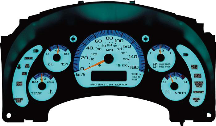 Chevy 98-00 S-10 Speed glo Gauges Manual w/o Tach