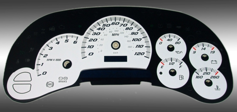 Gmc Sierra 2003-2005  White / Blue Night Performance Dash Gauges