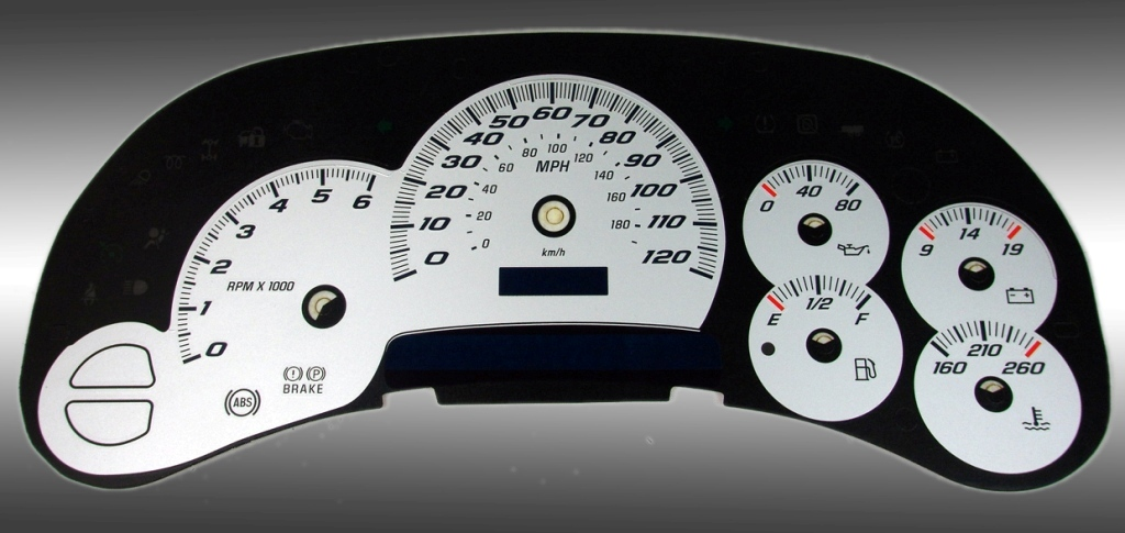 Chevrolet Tahoe 2003-2005  Silver / Blue Night Performance Dash Gauges