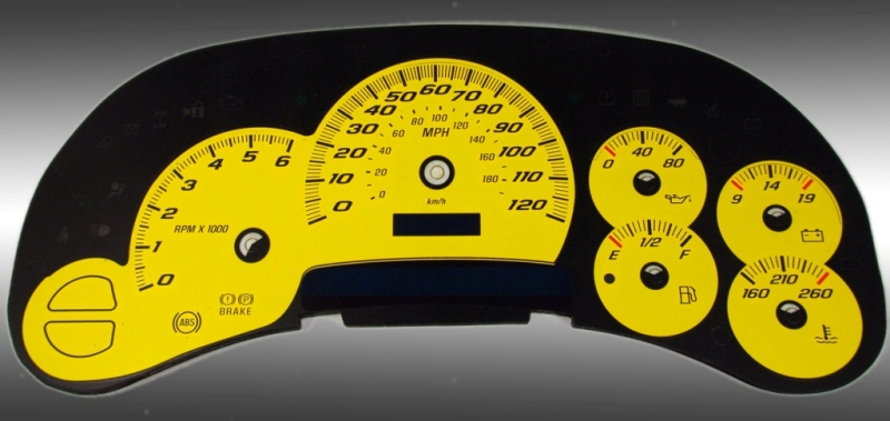 Gmc Sierra 2003-2005  Yellow / Blue Night Performance Dash Gauges