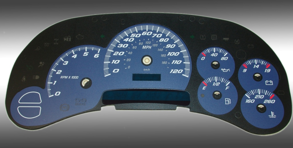 Gmc Sierra 2003-2005  Blue / Blue Night Performance Dash Gauges