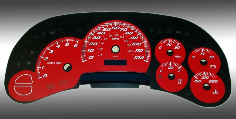 Gmc Sierra 2003-2005  Red / Blue Night Performance Dash Gauges