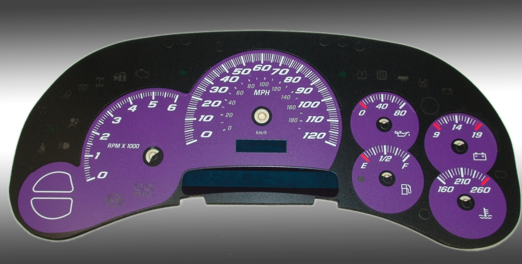 Gmc Sierra 2003-2005  Purple / Blue Night Performance Dash Gauges