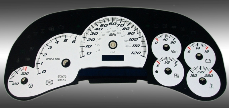 Chevrolet Silverado 2003-2005 Hd White / Blue Night Performance Dash Gauges