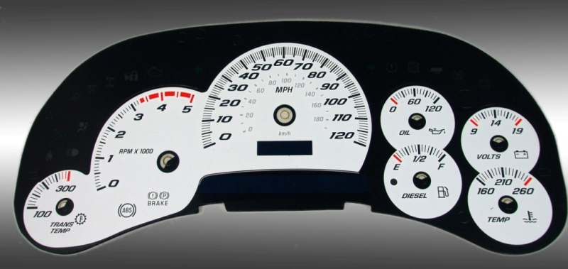 Gmc Sierra 2003-2005 Hd White / Blue Night Performance Dash Gauges