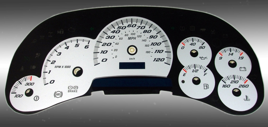 Cadillac Escalade 2003-2005  Silver / Blue Night Performance Dash Gauges