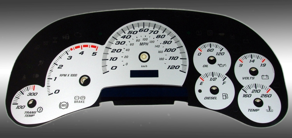 Chevrolet Silverado 2003-2005 Hd Silver / Blue Night Performance Dash Gauges