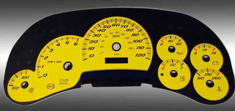 Cadillac Escalade 2003-2005  Yellow / Blue Night Performance Dash Gauges