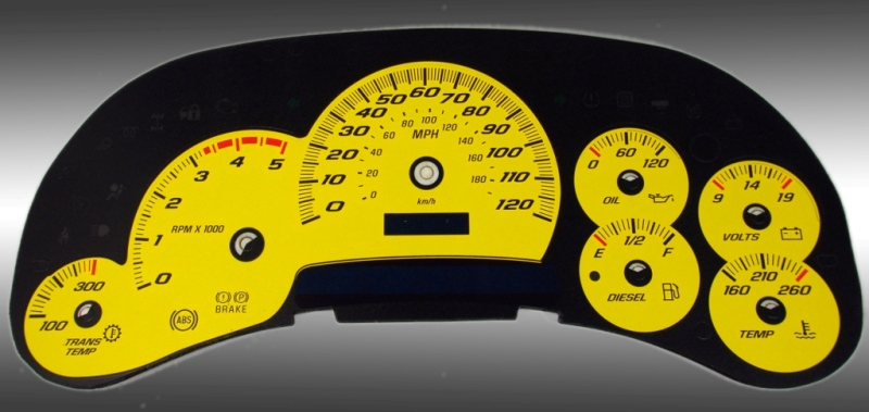Chevrolet Silverado 2003-2005 Hd Yellow / Blue Night Performance Dash Gauges