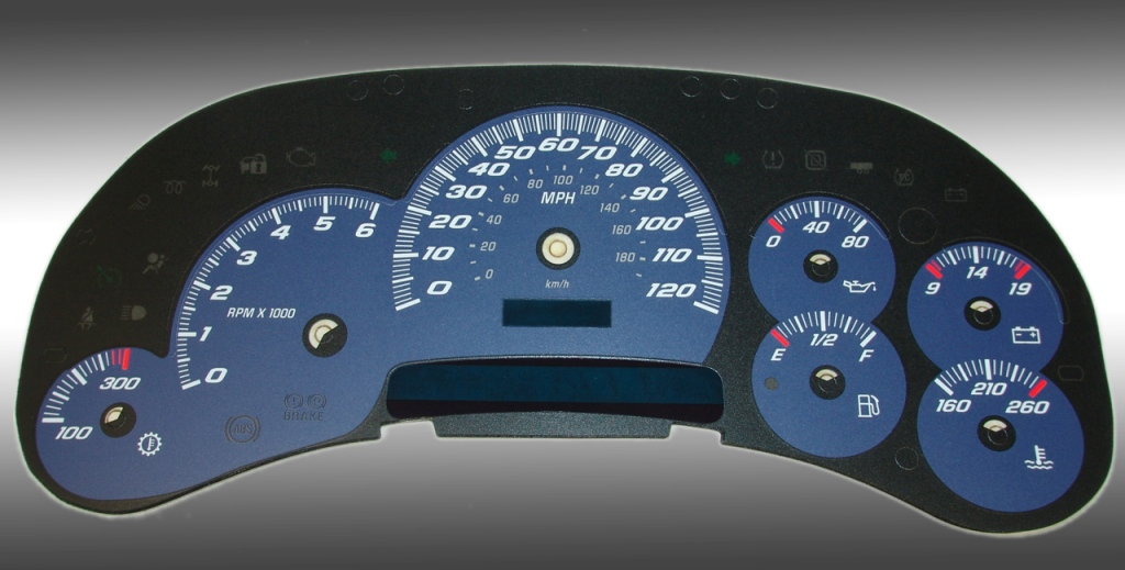 Cadillac Escalade 2003-2005  Blue / Blue Night Performance Dash Gauges