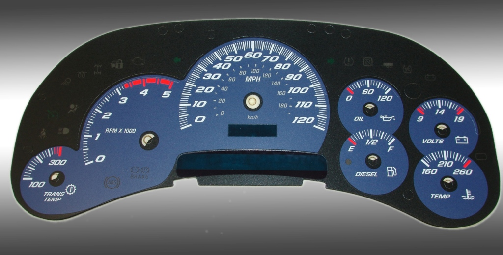 Chevrolet Silverado 2003-2005 Hd Blue / Blue Night Performance Dash Gauges